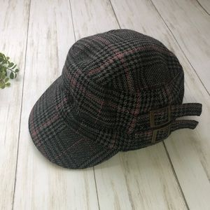 Plaid military hat with double buckles